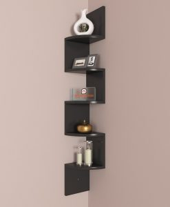 black decorative zigzag corner wall rack