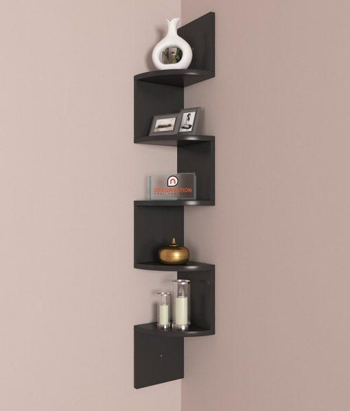 black decorative zigzag corner wall rack