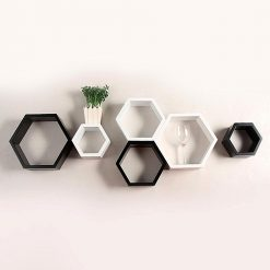 black white hexagon wall shelves for sale