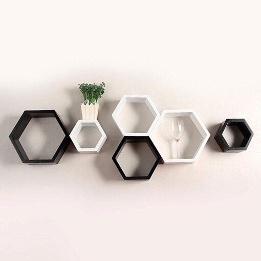 black white hexagon wall shelves for sale