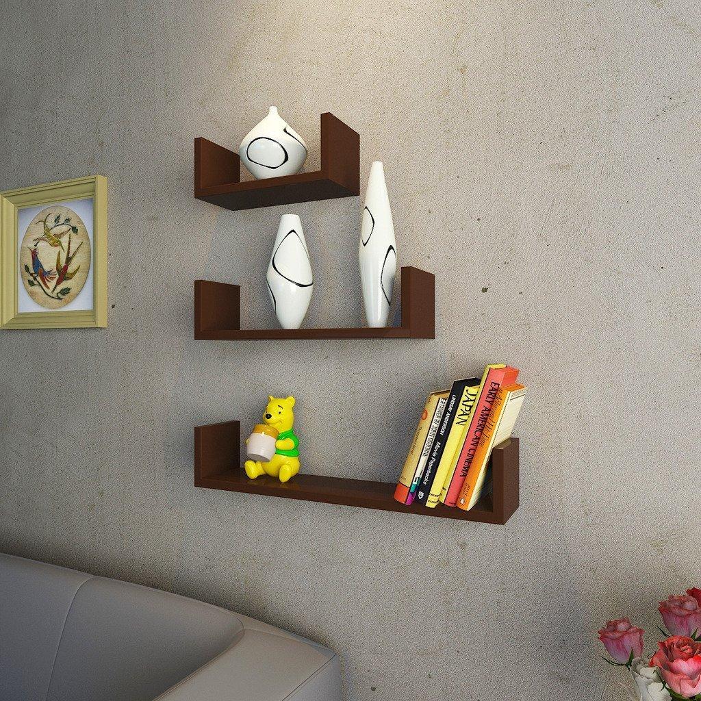 brown u shape wall shelves for sale