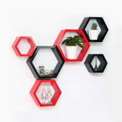 buy decornation decorative hexagon wall shelves red black