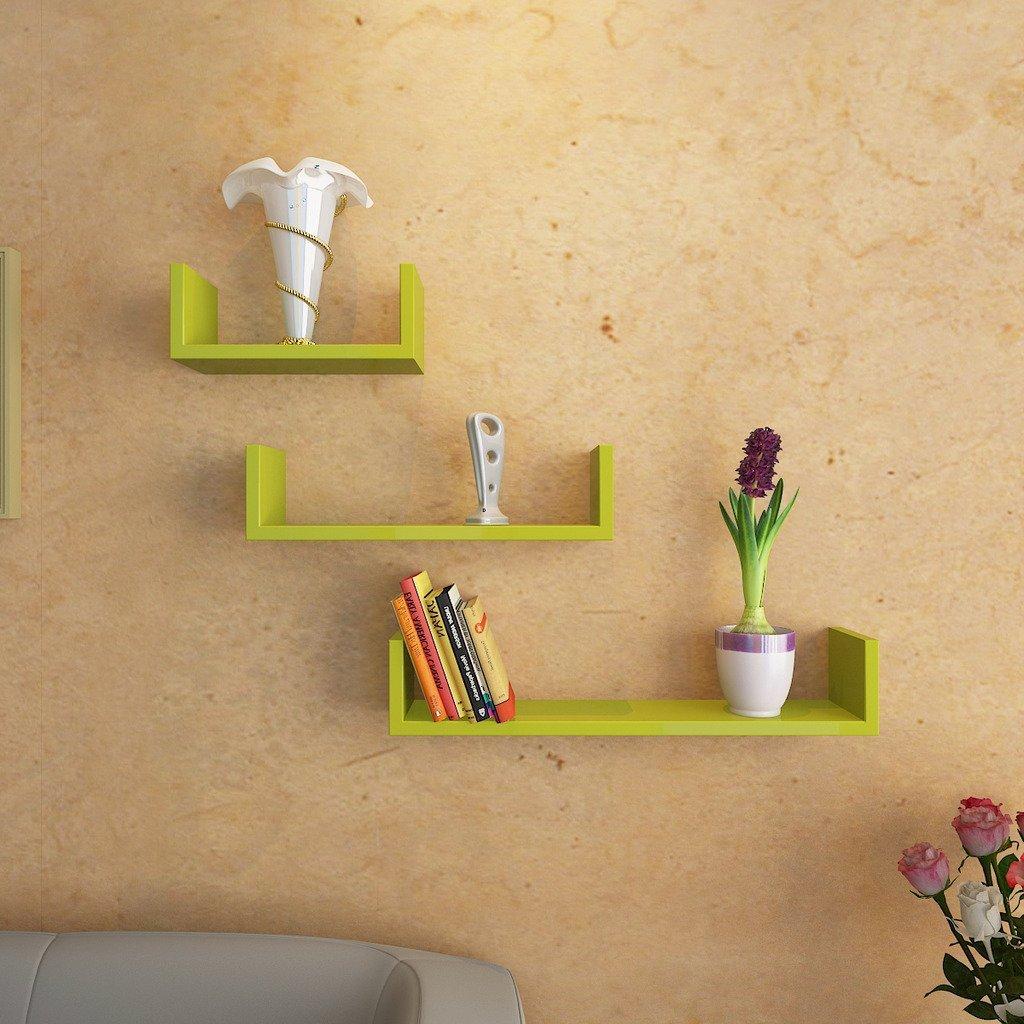 buy decornation green u shape wall shelves online