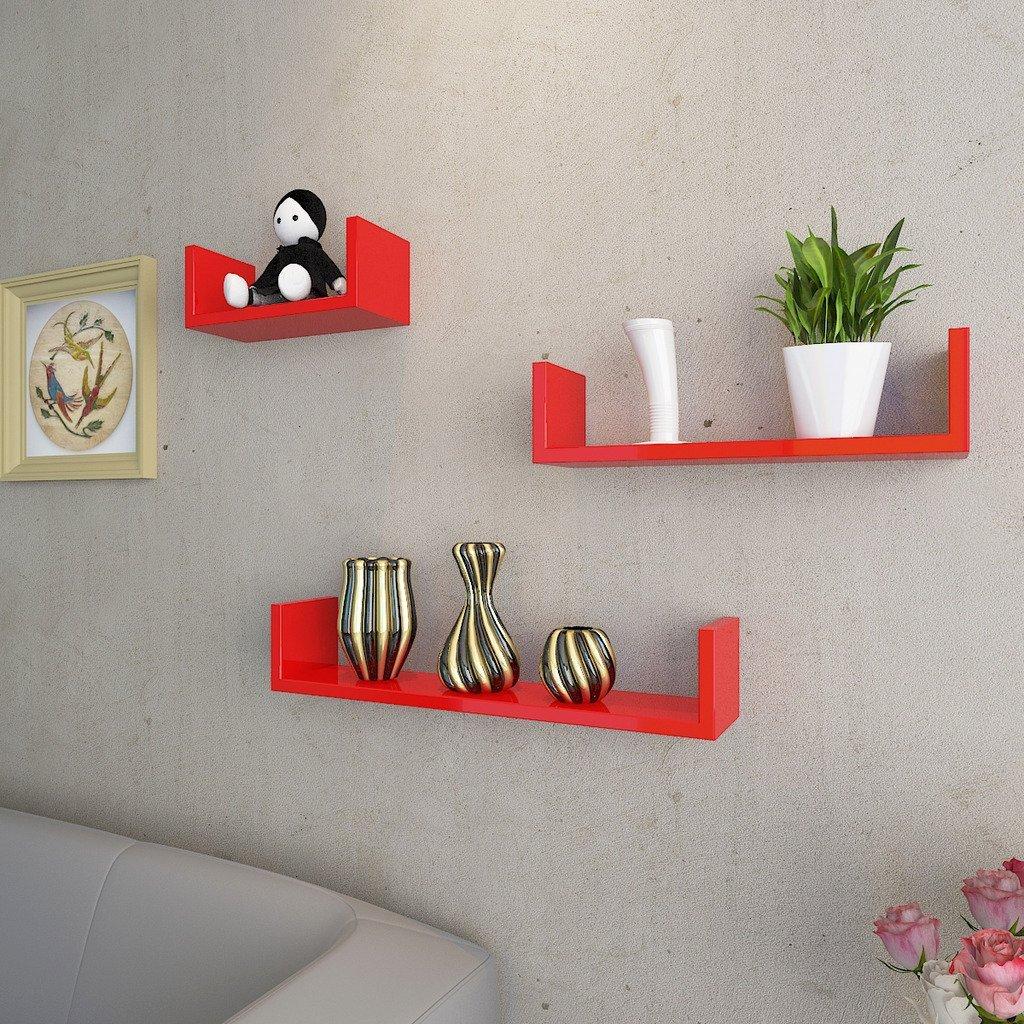 buy decornation u shape wall shelves red online india