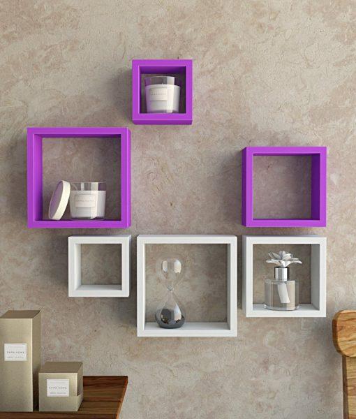 buy online wall racks square shape purple white online india