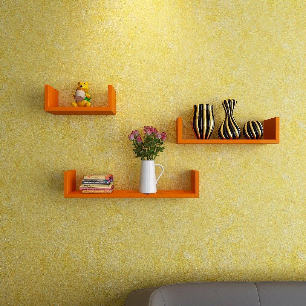contemporary wall shelves orange for sale