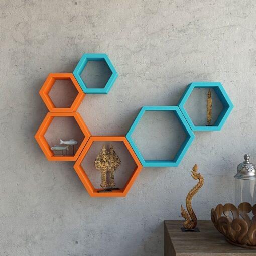 decorative hexagon wall shelves for home decor