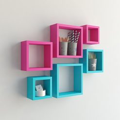 decorative pink skyblue wall shelves for sale