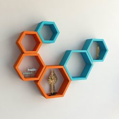 decorative skyblue orange wall racks for living room
