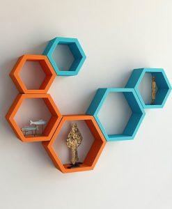 decorative skyblue orange wall racks for living room