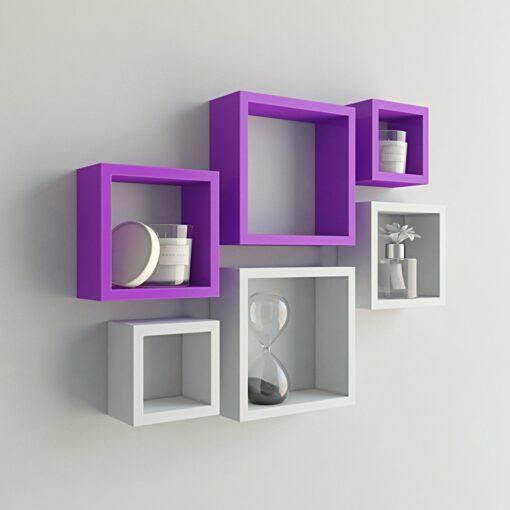 decornation nesting square wall shelves set of 6 purple white