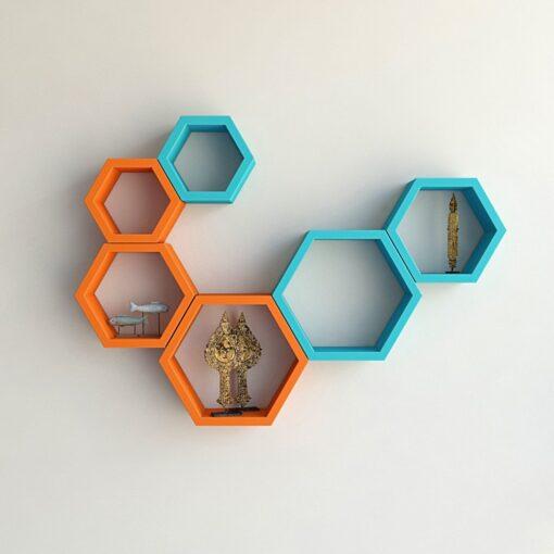 designer hexagon skyblue orange wall shelf bracket