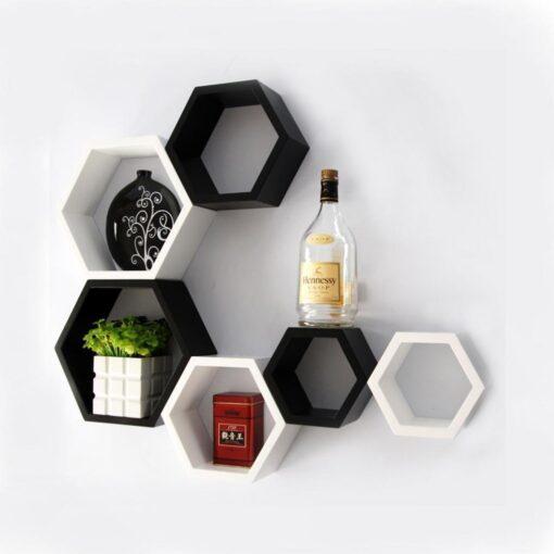 designer hexagon wall racks for home decor
