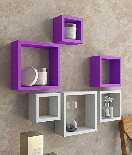 designer wall shelves purple white for home decor