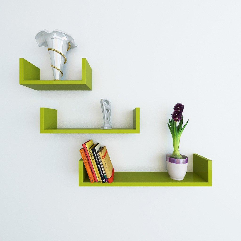 green designer u shape wall shelves