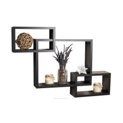intersecting black wall racks storage