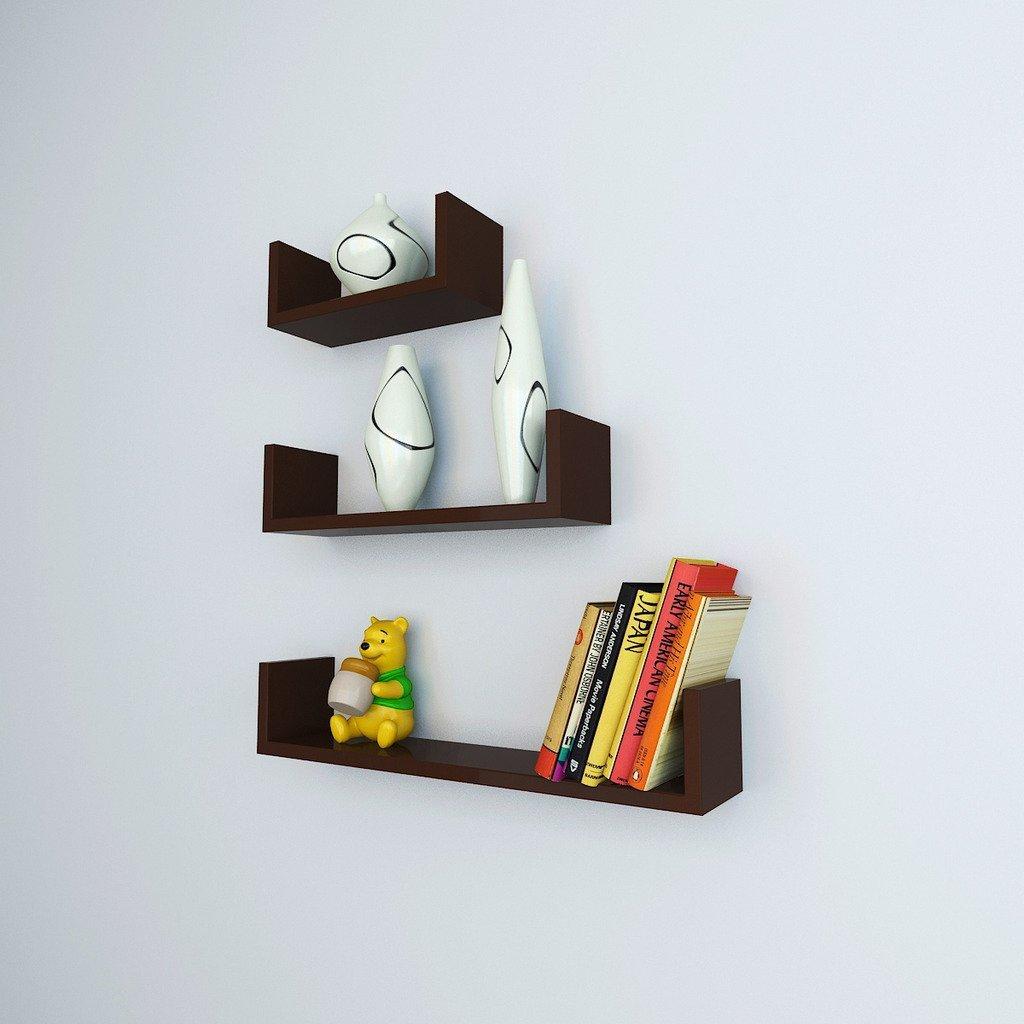 Designer Wall Shelf Set of U Shape Floating Wall Shelf - Brown