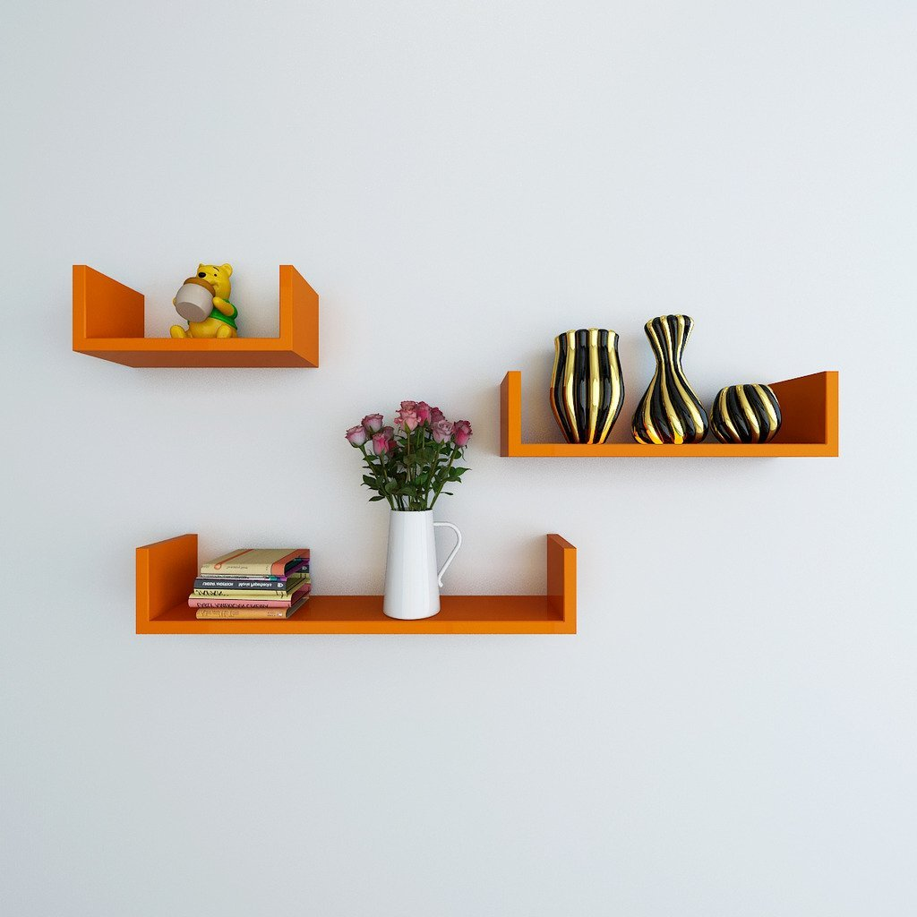 Decorative wall shelf set of u shape floating wall shelf for Decor nation