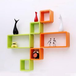 orange green set of 6 wall decor wall shelves online india
