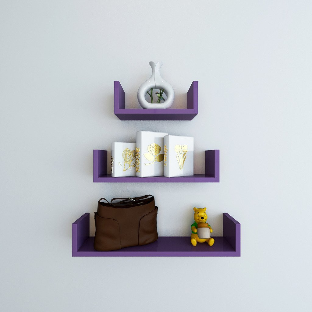 purple u shape display wall racks