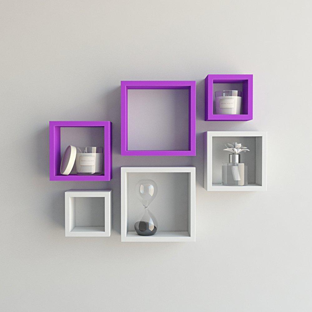 Purple White Designer Wall Racks For Living Room