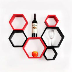 red black hexagon wall racks for sale online india