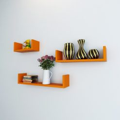 u shape wall -shelves orange color for home decor