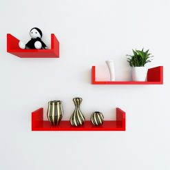 wall mounted display racks red