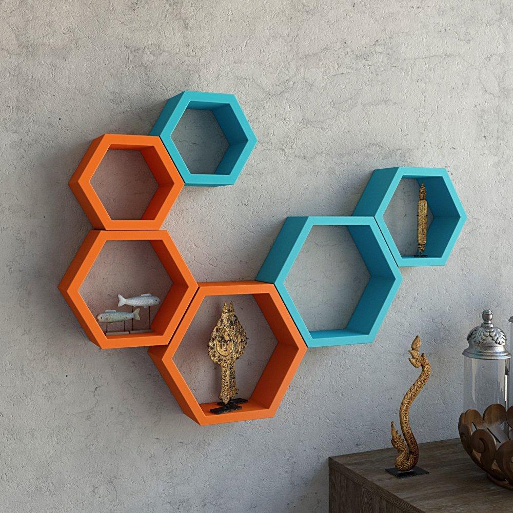 wall mounted hexagon wall shelves for wall decor
