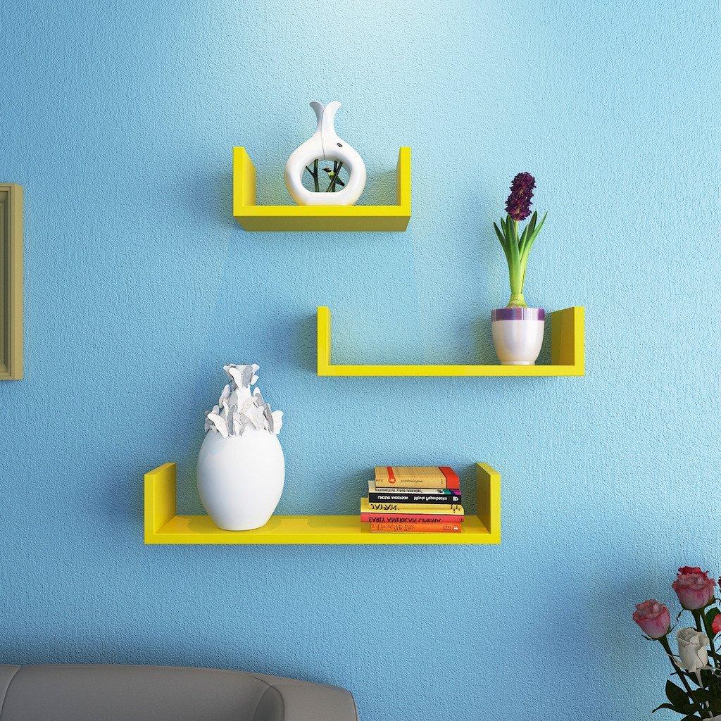 wall mounted wall racks yellow