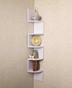 white corner display unit for room decor white