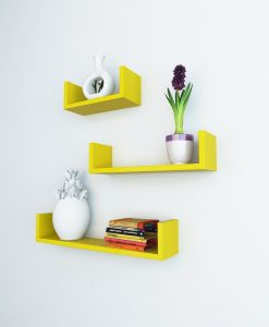 yellow u shape wall racks for bedroom