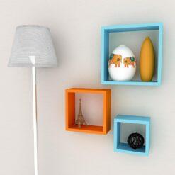 set of 3 decornation cube wall shelves skyblue orange
