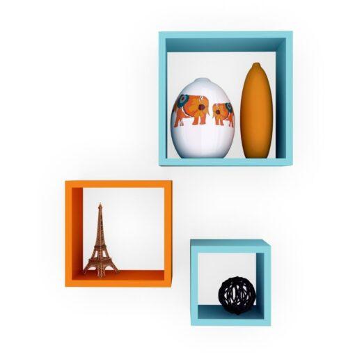skyblue orange cube wall shelves for sale