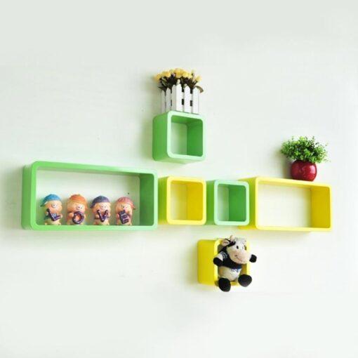 wall shelf brackets green pink set of 6