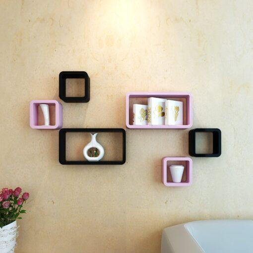 black and pink designer home home decor wall shelves