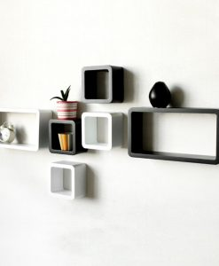 black and white wall decor shelves in set of 6