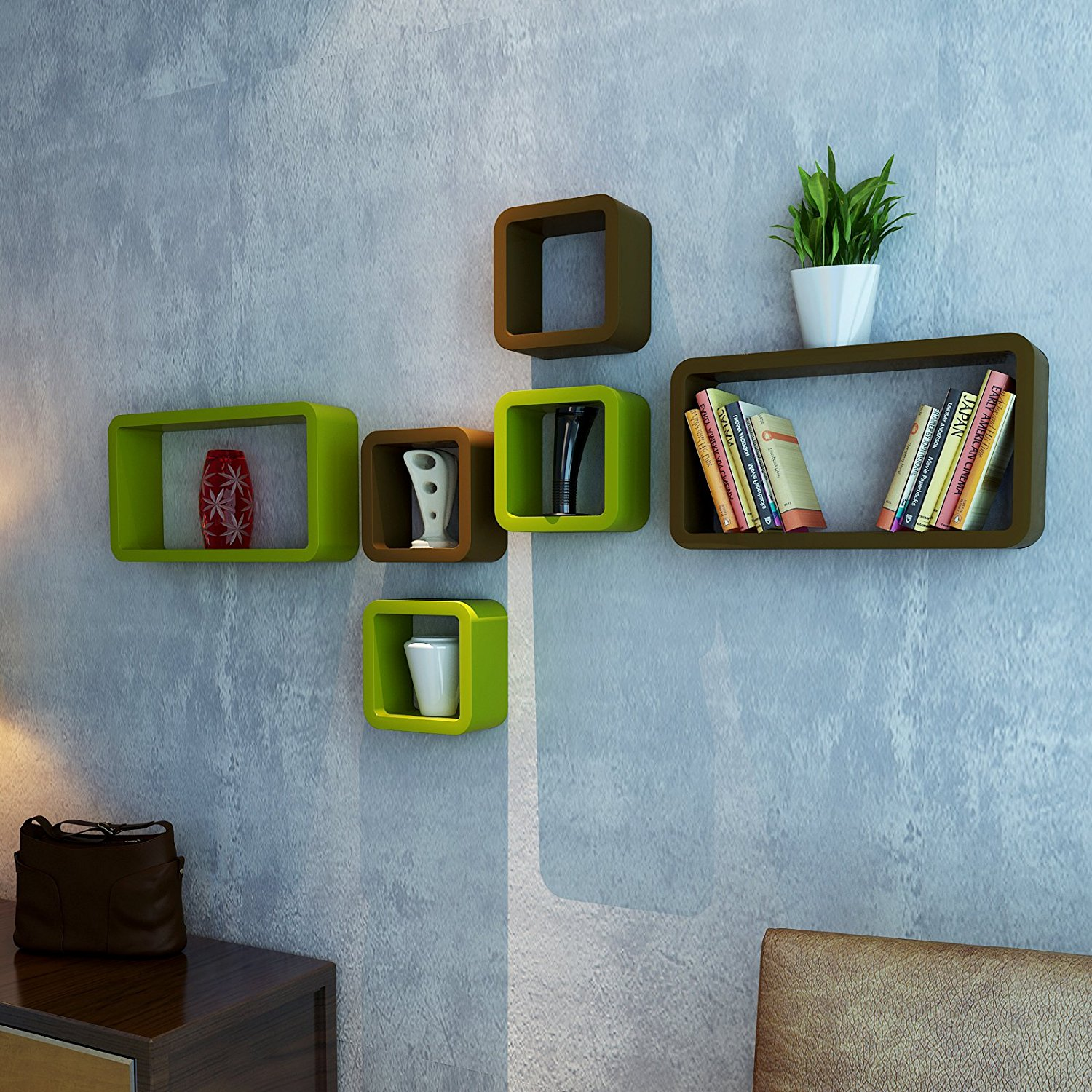 book storage wall shelves set of-6 green brown