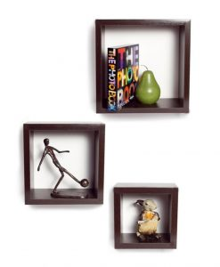brown decorative square wall shelves online india