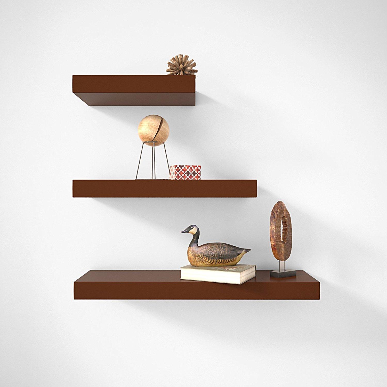 Wall decor wall shelf set of 3 floating shelves organizer brown set amipublicfo Gallery