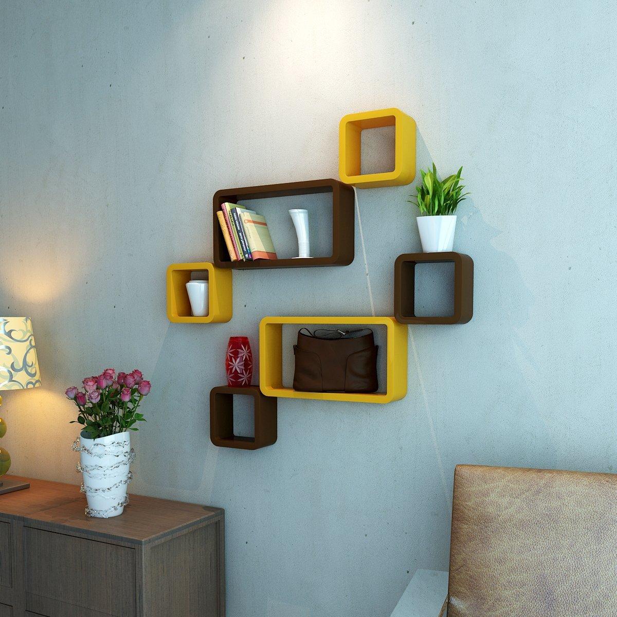 brown yellow wall shelf unit for wall decor