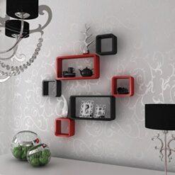 buy designer decornation wall shelves red black