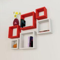 buy home decor wall shelves red white