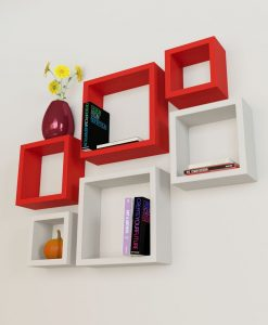 buy home decor wall shelves red white