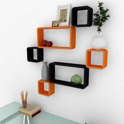 buy online set of 6 orange black wall shelves