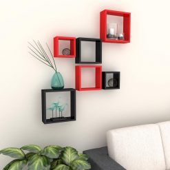 buy red black set of 6 decorative wall racks