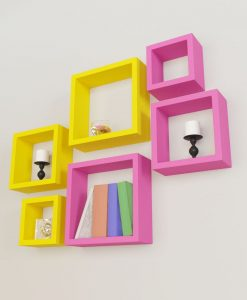 contemporary set of square wall shelves pink yellow