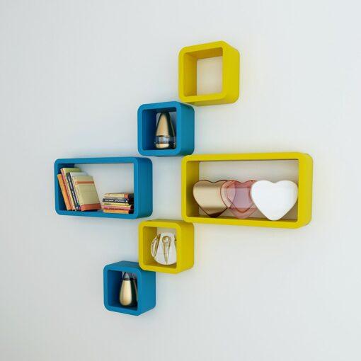 contemporary wall shelves skyblue yellow for home decor