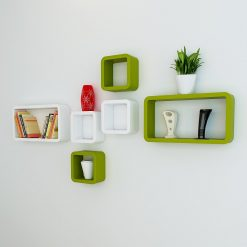 cube rectangle green white wall shelf unit