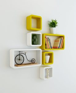 cube rectangle wall shelves yellow white for storage and display